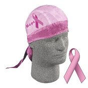 Flydanna Do-Rag, Head Scarf for folks that wear helmets. Breast Cancer Hope, model.