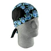 Bandanna Blue Rose Head Ware - Flydanna